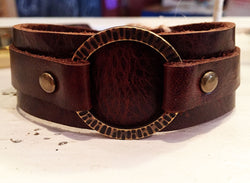 Brown Horween Leather Cuff w/ Radiant Textured Brass Ring