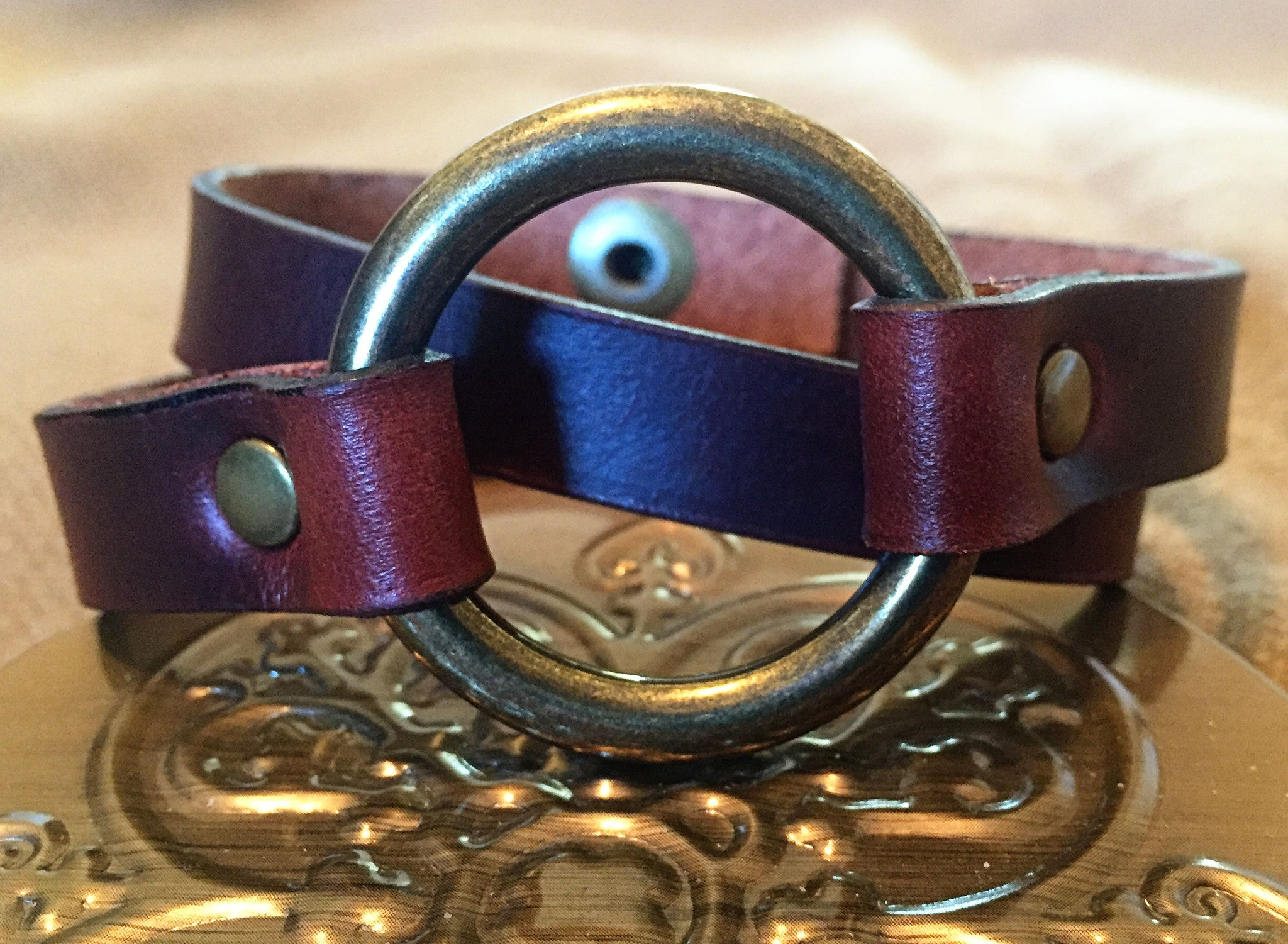 Double Wrap - Antique Brass O-Ring Brown Redwood Cuff Bracelet