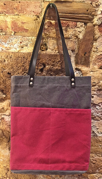 Hand Waxed Canvas Tote - Fuchsia and Grey Canvas