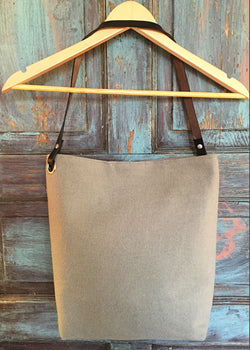 Felted Wool Bucket Tote -  Light Grey