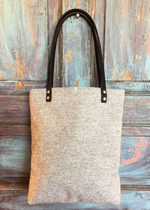 Felted Wool Bucket Tote - Grey Seeded