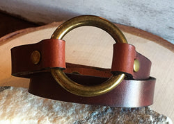 Brown Leather Wrap Bracelet with Antique Brass O-Ring