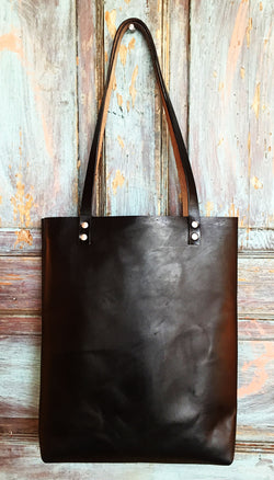 Horween Black Leather Tote - Large