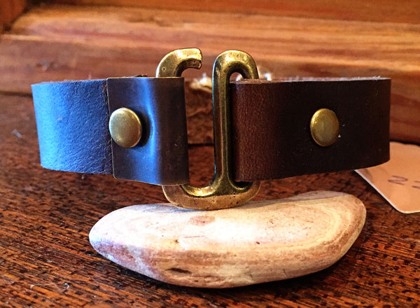 Brown Leather Bracelet w/ Antique Brass Clasp and Hook
