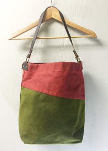 Bi-Color Large Waxed Canvas Tote - Olive and Burnt Scarlet
