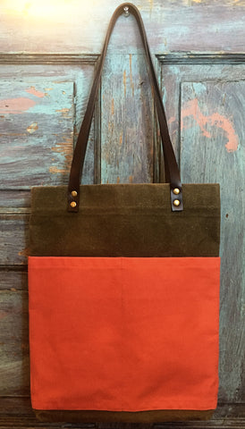 Hand Waxed Canvas Tote - Orange and Stone Canvas
