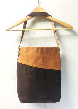 Bi-Color Waxed Canvas Tote - Chocolate and Wheat