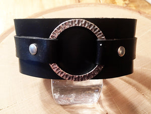 Black Chromexcel Horween Leather Cuff w/ Radiant Textured Silver Ring
