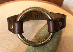 Leather and Brass Bracelet - Antique Brass O-Ring, Brown Horween Leather