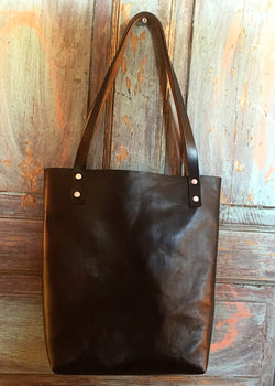 Black Horween Leather Tote - Small