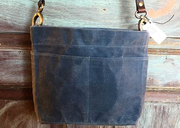 Mini crossbody Waxed Canvas Bag - Wedgewood Blue