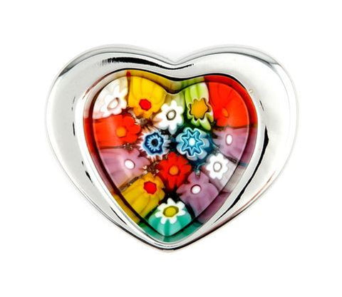 MURANO MILLEFIORI MULTICOLOR HEART RING WITH ELECTROFORM SILVER FRAME