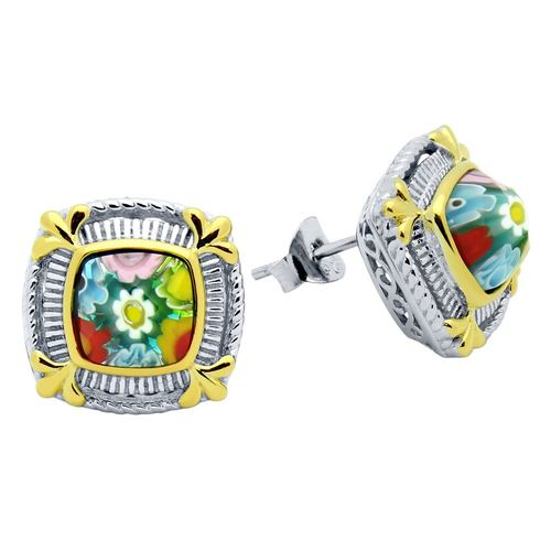 MULTICOLOR MURANO MILLEFIORI SQUARE EARRINGS WITH GOLD HIGHLIGHTS
