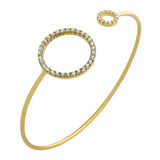 GOLD PLATED WIRE BANGLE WITH CZ RINGS