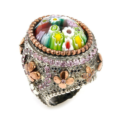 ★ SIGNATURE COLLECTION FACETED MLT MURANO GLASS OVAL RING