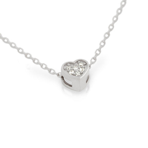"RHODIUM PLATED HEART CZ CLUSTER NECKLACE 16"" + 2"""