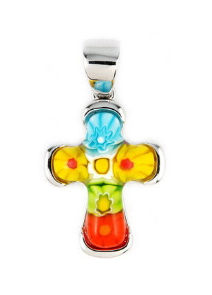 MULTI COLOR MILLEFIORI CROSS PENDANT