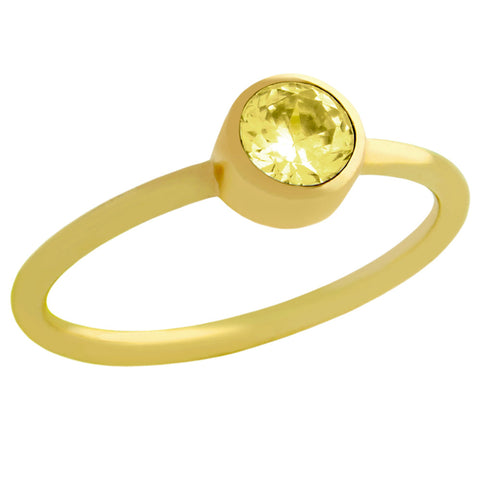 ★ GOLD PLATED 5MM YELLOW SWAROVSKI CZ STACKABLE BAND RING