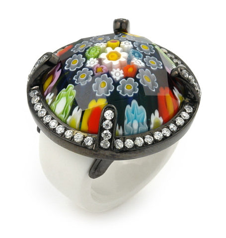 ★ EXQUISITE COLLECTION FACETED MLT MURANO GLASS BLACK RHODIUM RING WITH HIGH QUALITY CZ MICROSETTING