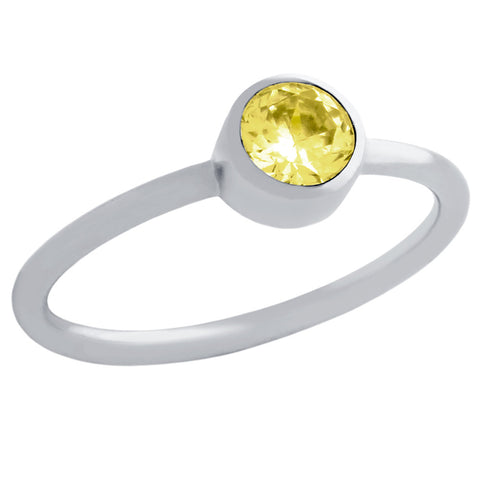 ★ 5MM SWAROVSKI YELLOW CZ BEZEL SET STACKABLE BAND RING