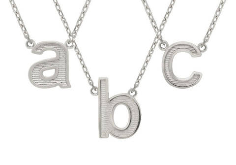 "RHODIUM PLATED LOWERCASE INITIALS NECKLACE 16"" + 2"""