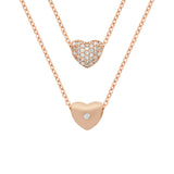 "ROSE GOLD PLATED DOUBLE SIDED CZ HEART SLIDER NECKLACE 16""+1"""