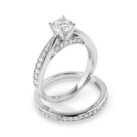 RHODIUM PLATED ROUND AND SIDE CZ WEDDING SET