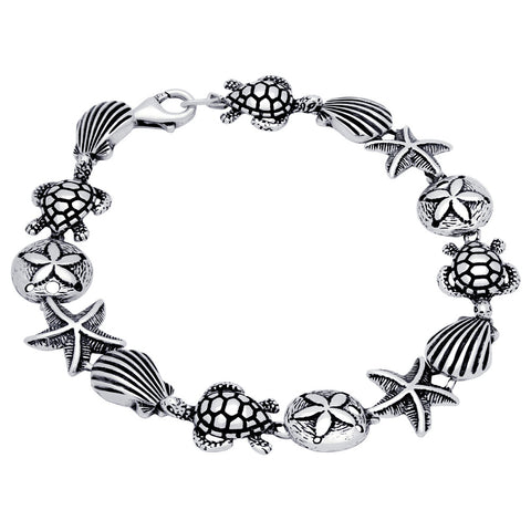 "STERLING SILVER ""UNDER THE SEA"" LINK BRACELET 7"""