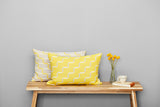 Contemporary, merino wool cushion, yellow, lemon, geometric design, woven in England.