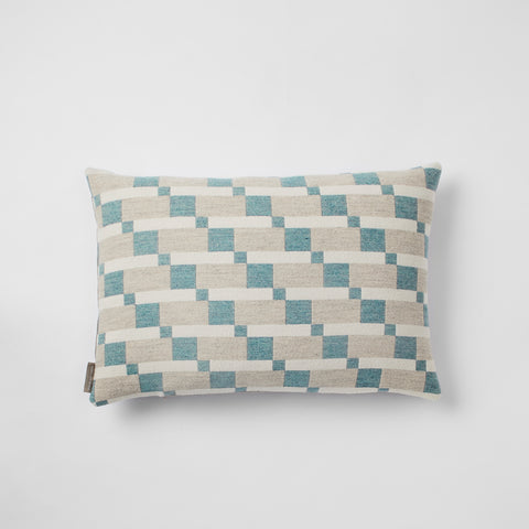 Block cushion in Aqua