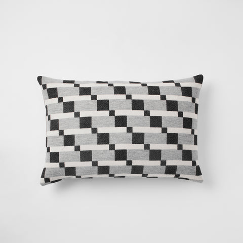 Contemporary , monochrome, merino wool cushion woven in England, perfect for sofa or bed.