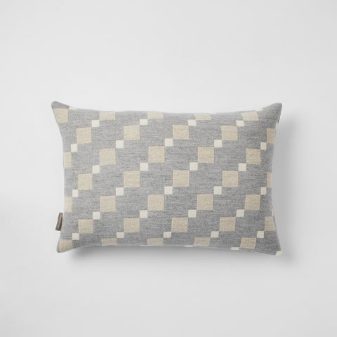 Contemporary, grey cushion. Merino wool, woven in England.