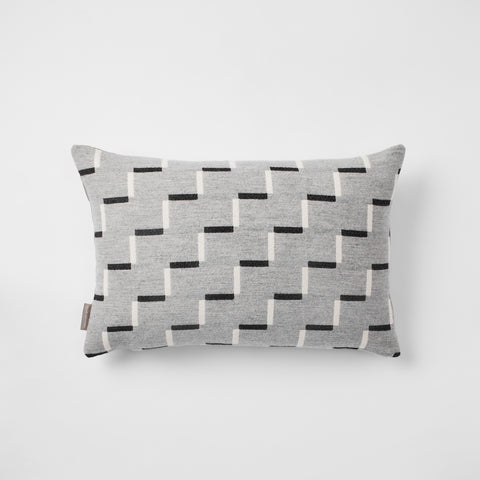 Contemporary, grey, merino wool cushion. Geometric, monochrome design. Woven in England.