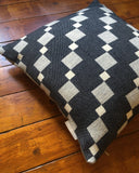 Contemporary cushion, woven in merino wool in our Yorkshire mill. Striking geometric design