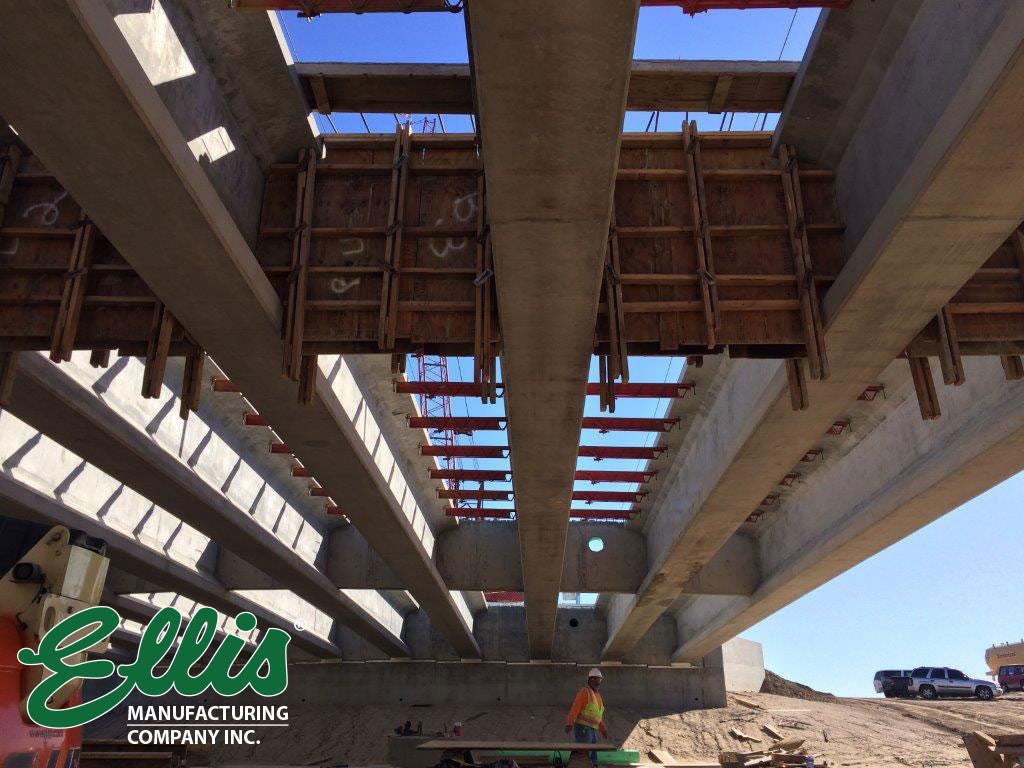 Horizontal Shoring on Girder Bridge before slab pour - Ellis Manufacturing Co