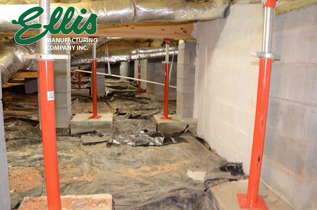 Sagging Floor Support in Crawlspace Ellis MFG Steel Shores