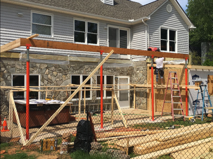 Ellis HD Steel Shores Supporting Second Story Addition.
