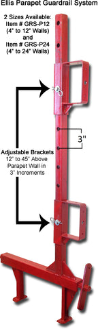 "Ellis Parapet Guardrail with adjustable handrail brackets, clamps to parapet walls up to 24"" wide."