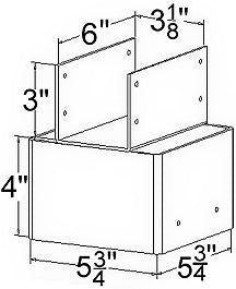 Ellis Manufacturing Co. 6x6 Double Joist Holder JHD-6, Diagram
