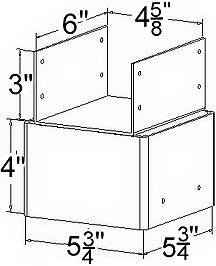 Ellis Manufacturing Co. 6x6 Triple Joist Holder JHT-6, Diagram