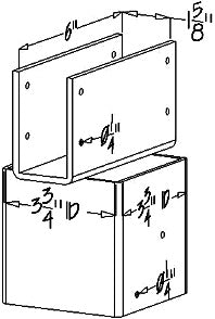 Ellis Manufacturing Co. Joist Holder JH-4, Size Diagram