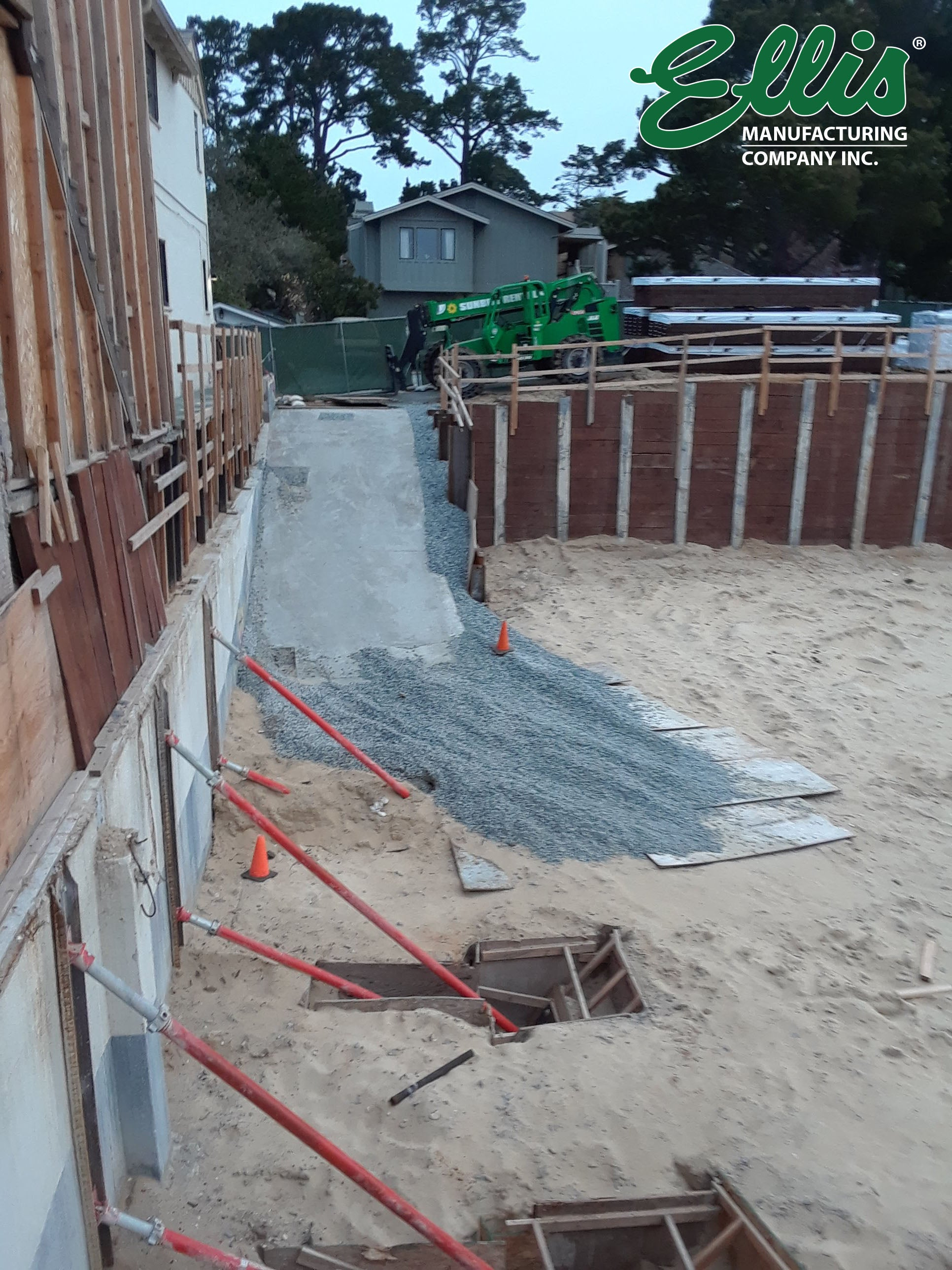 Propping and shoring retaining wall in California