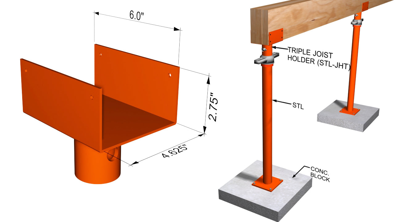 Ellis MFG Triple Joist Holder for Light Duty Steel Shores