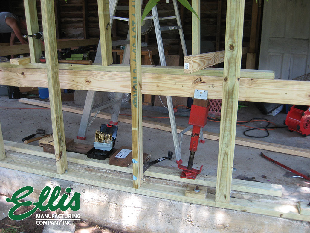 Ellis Screw Jack Post Supporting Wall and Roof During Re-Build