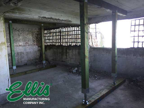 6x6 screw jack supports ceiling on Alcatraz - Ellis Manufacturing