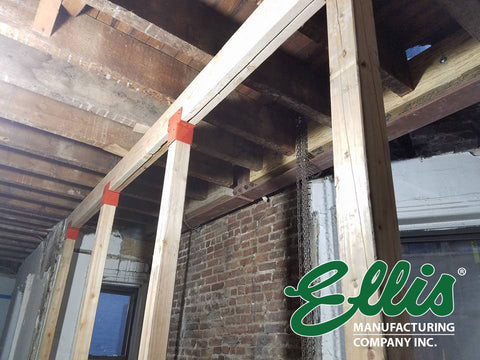 Double Joist Supports with Ellis MFG Co Screw Jack Post and Joist Holder