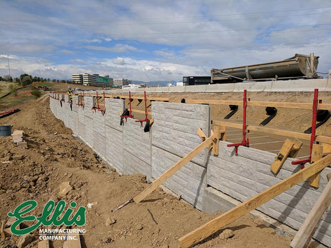 Ellis Manufacturing Co Parapet Guardrails on top of retaining wall