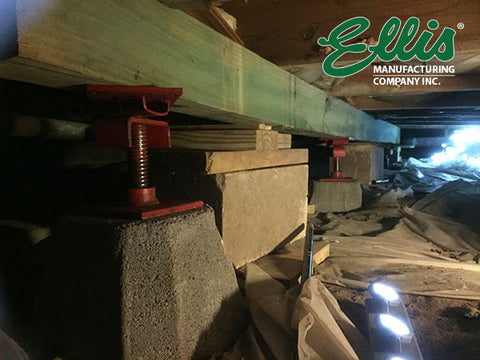 Timber Screw Jack under floor joists to fix sagging floors - Ellis Manufacturing Co.