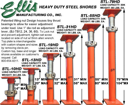 Ellis Steel Shores Heavy Duty Structural Suppor Jacks