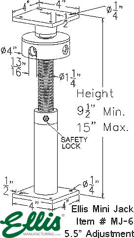 Mini Jack Post, Floor leveling screw jack, lolly column